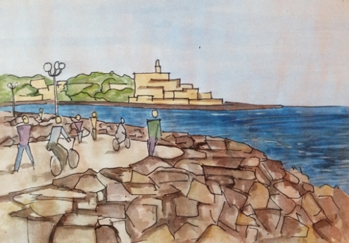 View (of Jaffa) from north Tel Aviv beach; pen and paint approx 18 x 13cm